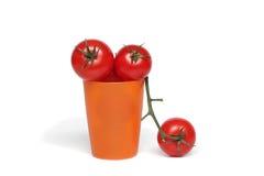 Tomates orgánicos rojos Fotografía de archivo