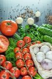 Tomates, pepinos, ajo, verdes Imagen de archivo libre de regalías