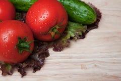 Tomates, pepinos e alface frescos Fotos de Stock