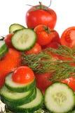 tomates, pepinos y eneldo Fotos de archivo
