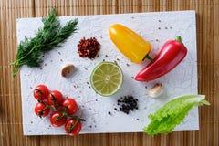 Tomates, pimientas, ajo, cal y eneldo Imagen de archivo libre de regalías