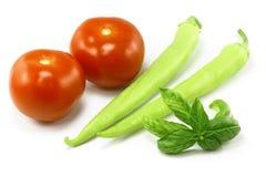 Tomates, pimientas y albahaca foto de archivo