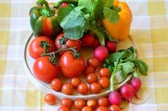 Tomates, rábanos, pimientas y perejil en la tajadera de madera Fotos de archivo