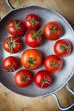 Tomates rústicos. Vista superior Imagem de Stock Royalty Free
