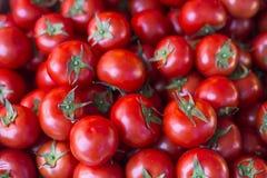 Tomates rojos brillantes en parada del mercado Fotografía de archivo libre de regalías