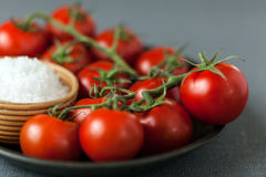 Tomates rojos maduros frescos con la sal del mar Foto de archivo