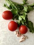 Tomates rouges, persil vert juteux, clous de girofle d'ail sur le fond clair photographie stock