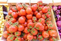 Tomates rouges, petites pommes de terre et oignons rouges à vendre dans le mA local images stock