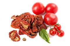 Tomates séchées au soleil avec le basilic et les tomates mûres Photographie stock libre de droits