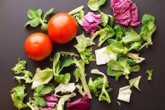 Tomates saines et verts de légumes frais sur un textura foncé Photographie stock