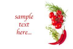 Tomates, salchichones e hierbas y texto del ejemplo Fotos de archivo libres de regalías