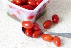 Tomates salgados vermelhos Imagem de Stock