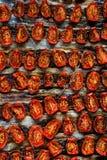 Tomates secados al sol en una bandeja Foto de archivo