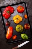 Tomates sortidos frescos em uma bandeja do cozimento Fotos de Stock