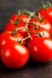 Tomates sur l'obscurité Image stock