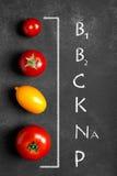 Tomates sur la surface noire Images stock