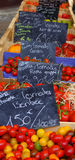 Tomates sur le marché Images stock