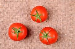 Tomates sur un fond de toile à sac Photographie stock