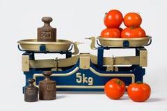 Tomates sur une échelle Photographie stock libre de droits