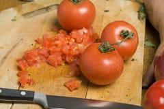 Tomates tajados Foto de archivo libre de regalías
