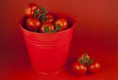 Tomates vermelhos em uma cubeta fotos de stock royalty free