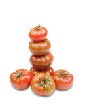 Tomates vermelhos empilhados Foto de Stock Royalty Free