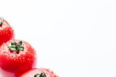 Tomates vermelhos frescos com gotas em um fundo branco Imagem de Stock Royalty Free