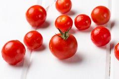 Tomates vermelhos frescos no fundo do wihte Fim acima Imagens de Stock Royalty Free