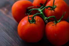 Tomates vermelhos maduros em um fundo de madeira Imagem de Stock Royalty Free