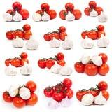 Tomates y ajo junto Imagen de archivo
