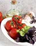 Tomates y albahaca Fotografía de archivo