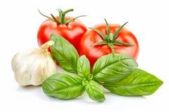 Tomates y albahaca frescos imagenes de archivo