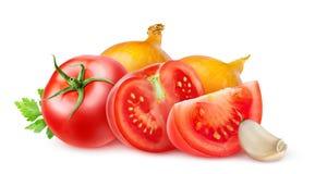 Tomates y cebollas fotografía de archivo libre de regalías