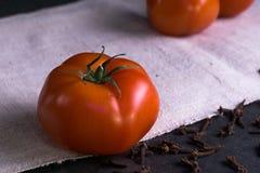 Tomates y clavos frescos Fotos de archivo libres de regalías