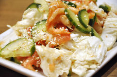 Tomates y ensalada de los cucmbers con el camarón Imagen de archivo libre de regalías