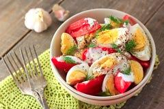 Tomates y ensalada de los huevos Fotos de archivo
