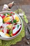 Tomates y ensalada de los huevos Imagenes de archivo