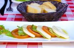 Tomates y ensalada del mozzarello Imágenes de archivo libres de regalías