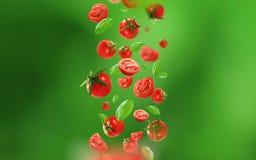 Tomates y hojas de cereza que caen del aire fotografía de archivo