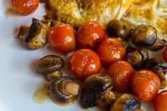 Tomates y huevo de Muschrooms en una placa blanca Imagen de archivo libre de regalías