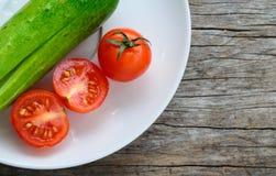 Tomates y pepino Fotografía de archivo