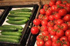 Tomates y pepino orgánicos Foto de archivo