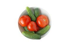 Tomates y pepinos Fotografía de archivo libre de regalías