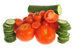 Tomates y pepinos Foto de archivo libre de regalías
