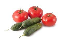 Tomates y pepinos Fotografía de archivo