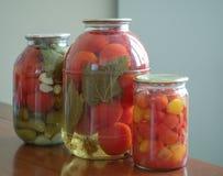Tomates y pepinos conservados en los tarros de cristal Imagen de archivo libre de regalías