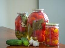 Tomates y pepinos conservados en los tarros de cristal Fotos de archivo libres de regalías