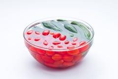 Tomates y pepinos conservados en vinagre Fotografía de archivo
