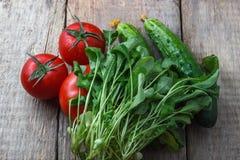 Tomates y pepinos de las verduras con verdes en el fondo de la madera Fotos de archivo