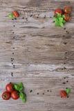 Tomates y pimienta como marco Fotografía de archivo libre de regalías